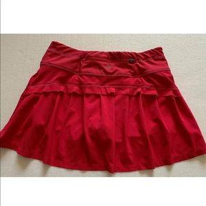 Athleta Pleated Red Skort Skirt Size XXS